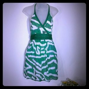 Green and white side zip dress by We Love Vera